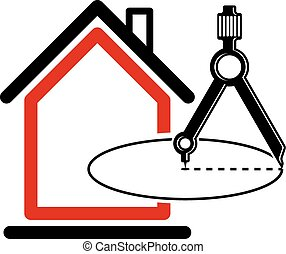 El símbolo vector conceptual de diseño arquitectónico, icono de la casa simple con brújula. Diseño de elementos gráficos de construcción, proyecto de construcción o borrador, equipo de ingenieros.