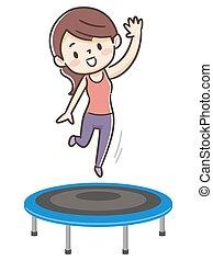 el saltar de trampoline, mujer, joven
