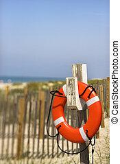 El salvavidas en la playa.