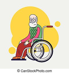 El señor se sienta en silla de ruedas. Un anciano con barba y gafas. Diseño plano lineal. Cuidando a los mayores. Ayuda para moverse