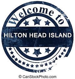 El sello de la isla Hilton sobre fondo blanco