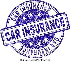 El sello de sello de sellos de seguros del coche grunge