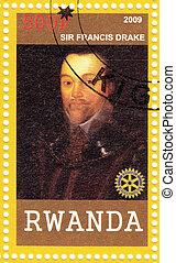 El sello impreso en Ruanda muestra a Sir Francis Drake, capitán de mar inglés, corsario, navegante, esclavizador, pirata y político de la era isabelina, alrededor de 2009