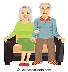 el sentarse junto, anciano, sofá, pareja, romántico, cierre