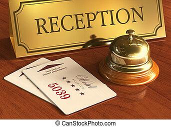 El servicio de campanas y cartones en la recepción del hotel