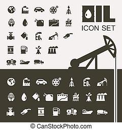 El set de icono plano de la industria petrolera