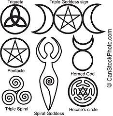 El set de los símbolos wiccan
