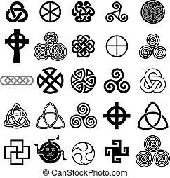 El set de símbolos celtas vectores.