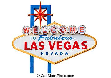 El signo de Las Vegas está aislado en blanco