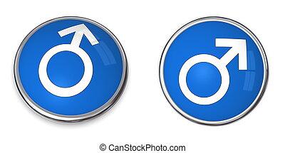El signo de sexo masculino blanco en tono azul