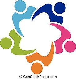 El sindicato de trabajo en equipo logotipo 5 personas