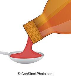 El sirope médico se vierte de una botella en una cuchara