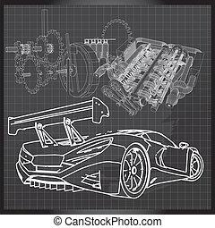 El sketch del auto deportivo en el tablero