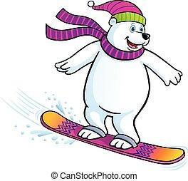 el snowboarding, oso polar