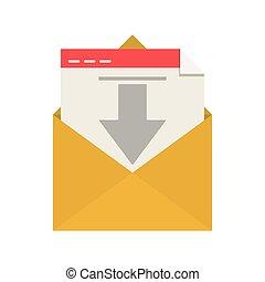 El sobre de la silueta abre la flecha del correo