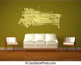 El sofá blanco y dos sillas en el interior verde