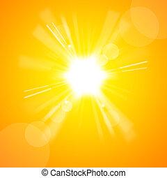 El sol amarillo brillante