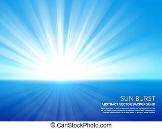 El sol blanco estalló en el cielo azul. Abstraer la luz solar que explota el efecto vector de fondo