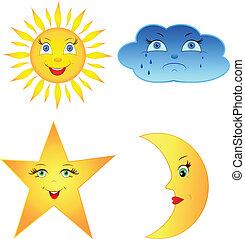 El sol cómico, la luna, la nube y la estrella