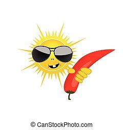 El sol con escalofríos ilustración vectora