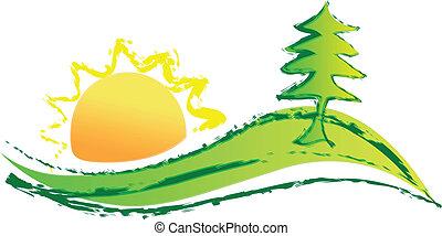 El sol del árbol y el logo de la colina