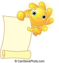 El sol muestra un pergamino