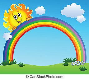 El sol sostiene el arco iris en el cielo azul