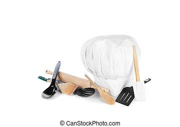 El sombrero de Chef con utensilios de cocina