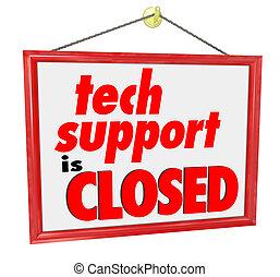 El soporte técnico está cerrado. El mensaje de las palabras no ayuda