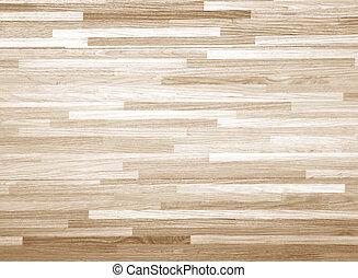El suelo de la cancha de baloncesto de madera dura