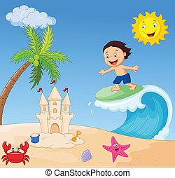 El surf de un chico feliz