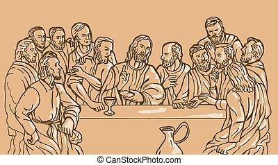 el suyo, último, cristo, jesús, discplles, salvador, cena
