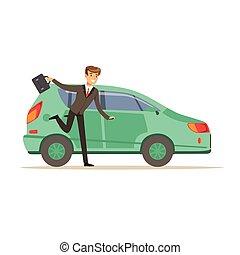 el suyo, apresuramiento, carácter, ilustración, tarde, corriente, vector, coche, hombre de negocios, hombre