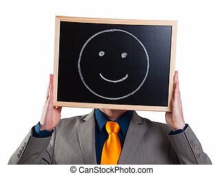 el suyo, cara sonriente, cartelera, hombre de negocios, blanco, paliza