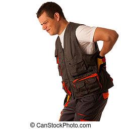 el suyo, dolor, -, trabajador duro, espalda, sufrimiento, construcción, lesión, trabajo