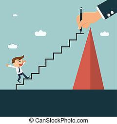 el suyo, escalera, sociedad, writting, hombre de negocios, mentor, fácil, socio, montañismo, colina, concept.