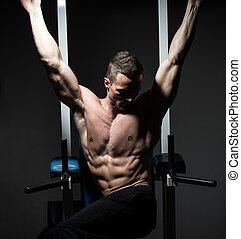 el suyo, gimnasio, ejercitar, abs, guapo, hombre