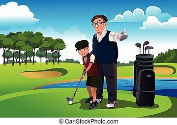 el suyo, golf, nieto, aduelo, enseñanza, juego