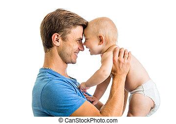 el suyo, padre, hijo, bebé, pasatiempo, manos, diversión, isolat, teniendo, feliz