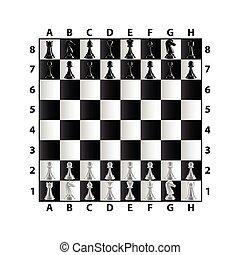 El tablero de ajedrez está aislado en vector blanco