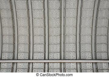 El techo hecho de hoja de metal como fondo