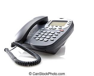 El teléfono de la oficina gris está aislado en un fondo blanco