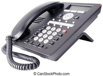 El teléfono de la oficina IP está aislado en blanco