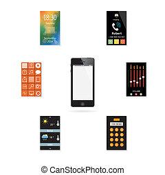 El teléfono móvil con un juego de iconos