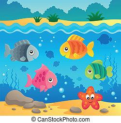 El tema de la fauna del océano bajo el agua 2
