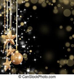 El tema de Navidad con estrellas de cristal dorado y espacio libre para el texto