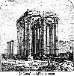 El templo de Olimpia Zeus o columnas del olympian Zeus, Grecia, Atenas. Indiciosos.