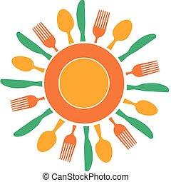 El tenedor, el cuchillo y el plato organizados como el sol amarillo