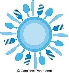 El tenedor, el cuchillo y el plato organizados como el sol azul