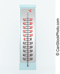 El termómetro está aislado en el fondo blanco. Imagen 3D